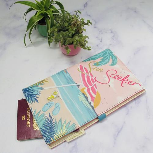 Pink Faux Leather Sun Seeker Travel Wallet