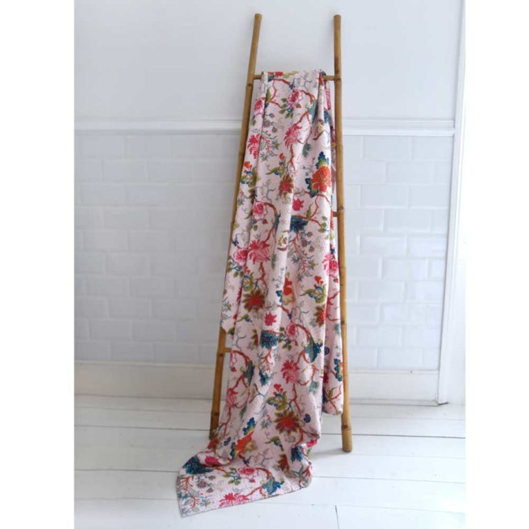 Pink Floral Kantha Throw