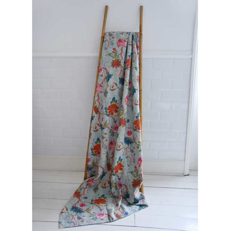 Blue Floral Kantha Throw