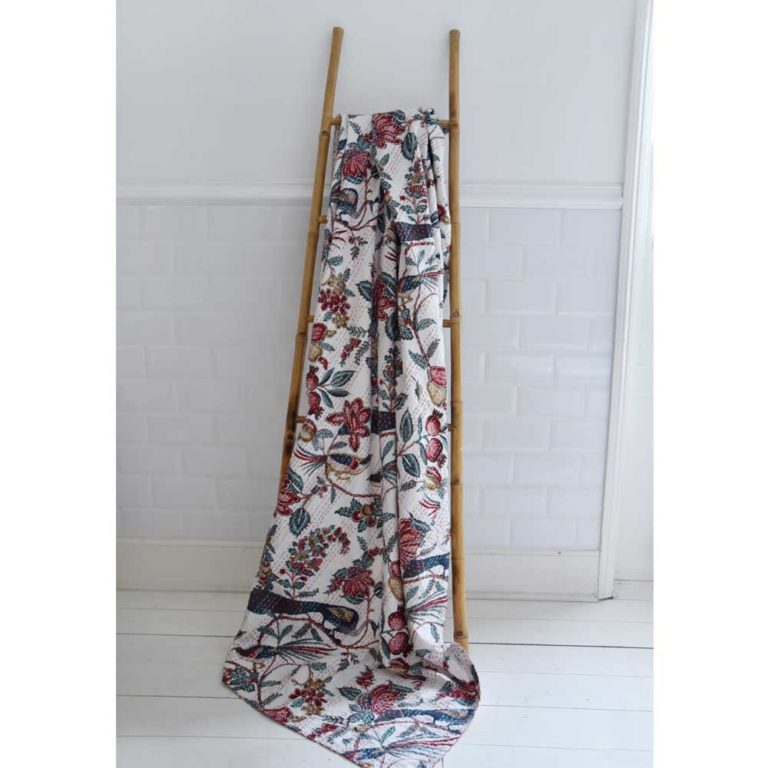 White Peacock Kantha Throw