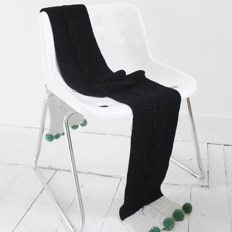 Black Cable Knit Scarf with Green Pom Poms