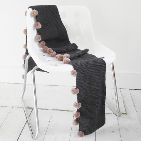 Dark Grey Cable Knit Scarf with Pink Pom Poms