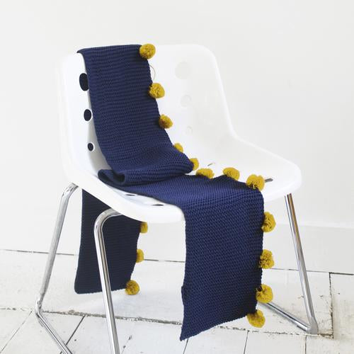 Navy Cable Knit Scarf with Mustard Pom Poms