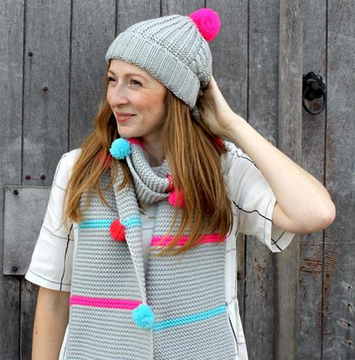 Grey Cable Knit Scarf with Neon Stripes and Pom Poms