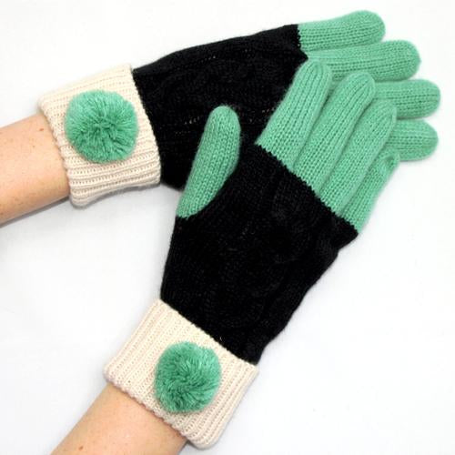 Black Cable Knit Gloves with Green Pom Pom
