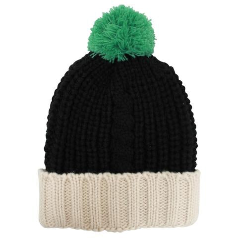 Black Cable Knit Hat with Green Pom Pom