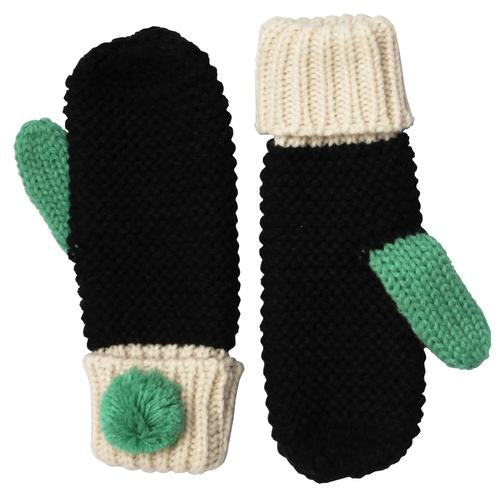 Black Cable Knit Mittens with Green Pom Pom