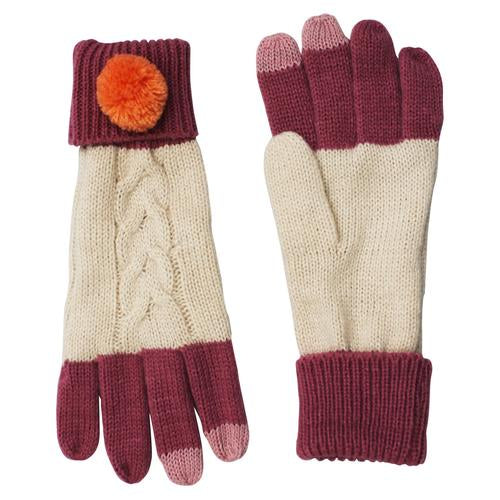 Cream Cable Knit Gloves with Pink Pom Pom