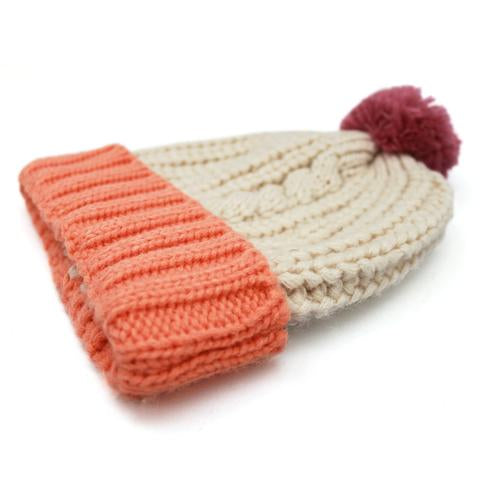 Cream Cable Knit Hat with Pink Pom Pom