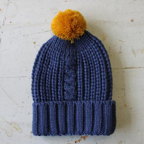 Navy Cable Knit Hat with Mustard Pom Pom