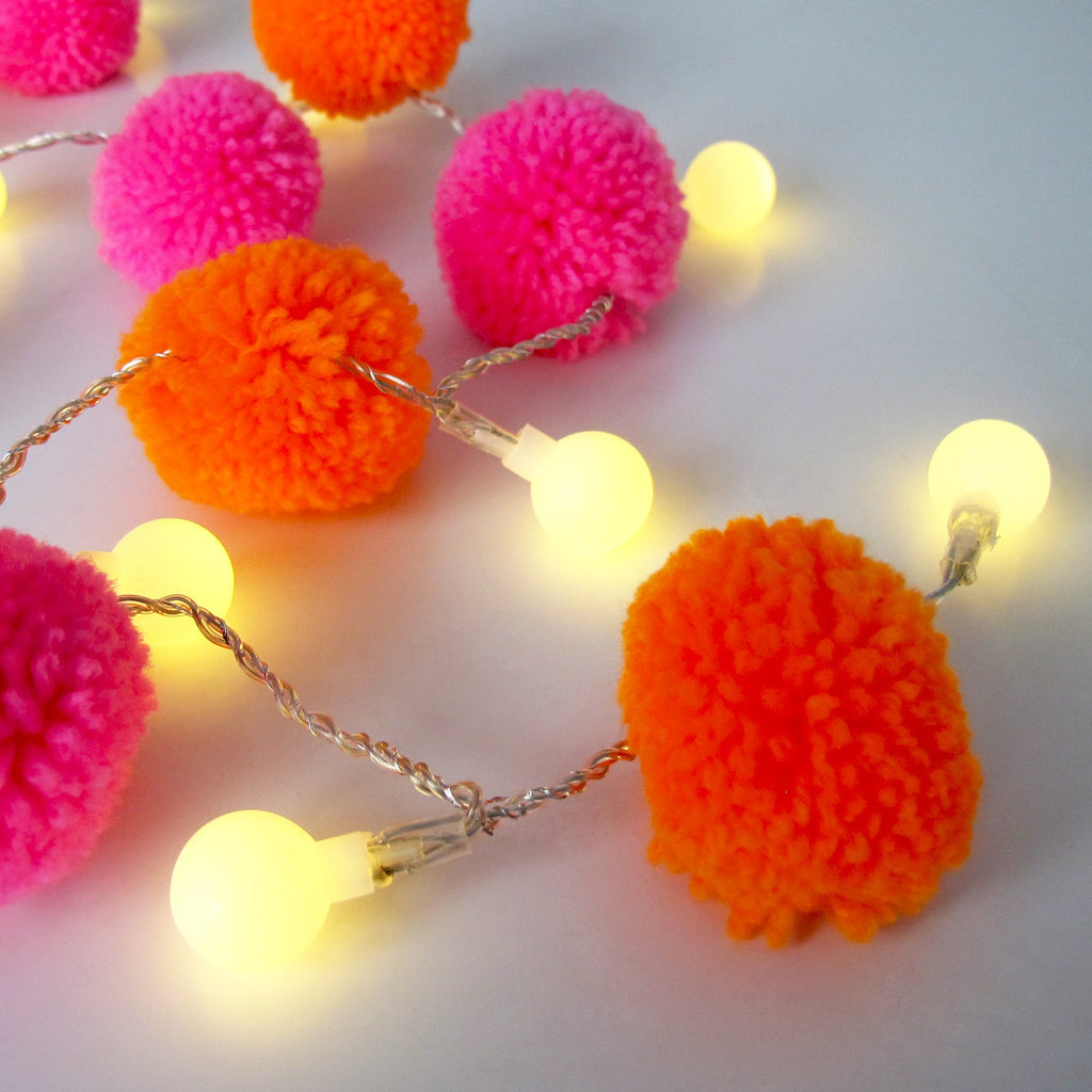 Pink & Orange Pom Pom String Lights
