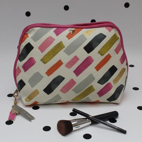Pink and Grey Faux Leather Paint Stroke Print Wash Bag