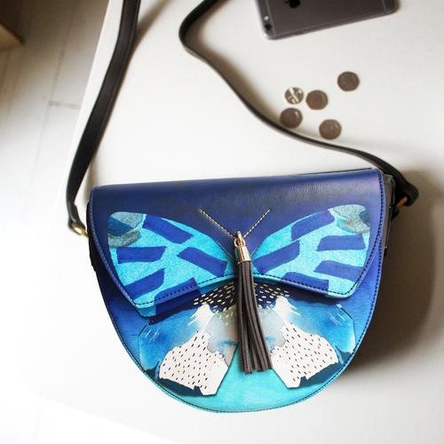 Papillon Butterfly Faux Leather Saddle Bag