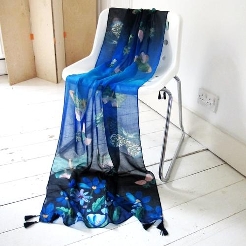 Papillon Butterfly Blue Scarf