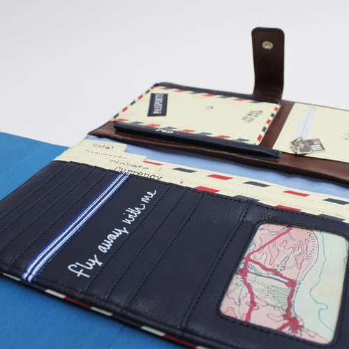 Paper Plane Faux Leather Travel Wallet