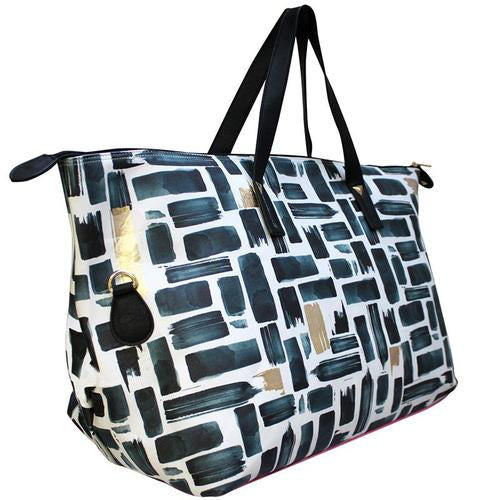 Black and White Faux Leather Paint Stroke Weekend Bag