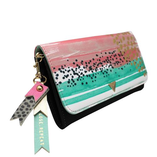 Pink and Turquoise Paint Pattern Wallet