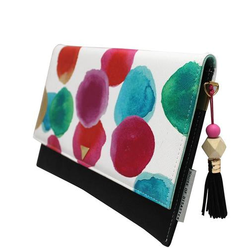 White and Pink Faux Leather Paint Spot Clutch Bag
