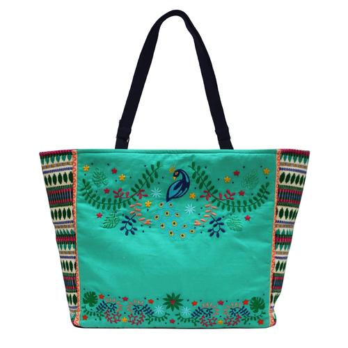 Peacock Embroidered Shopper Bag