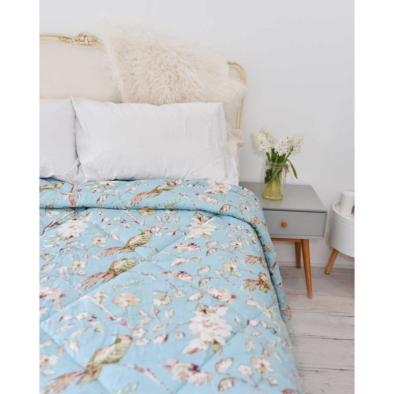 Blue Blossom and Birds Cotton Indian Bed Quilt