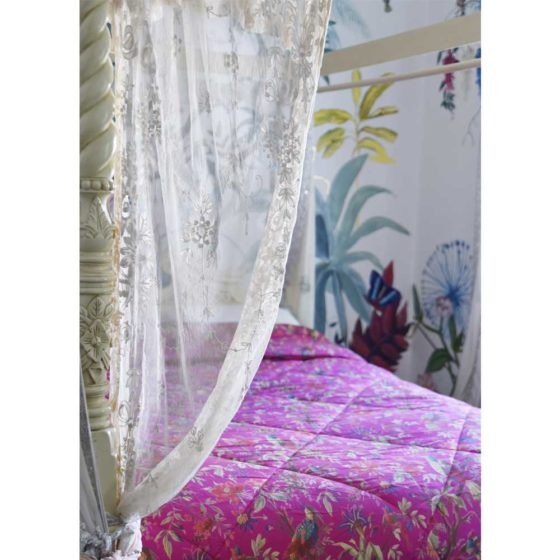 Hot Pink Birds of Paradise Print Cotton Indian Bed Quilt
