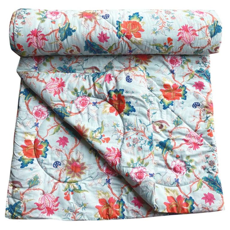 Blue Floral Print Cotton Indian Bed Quilt