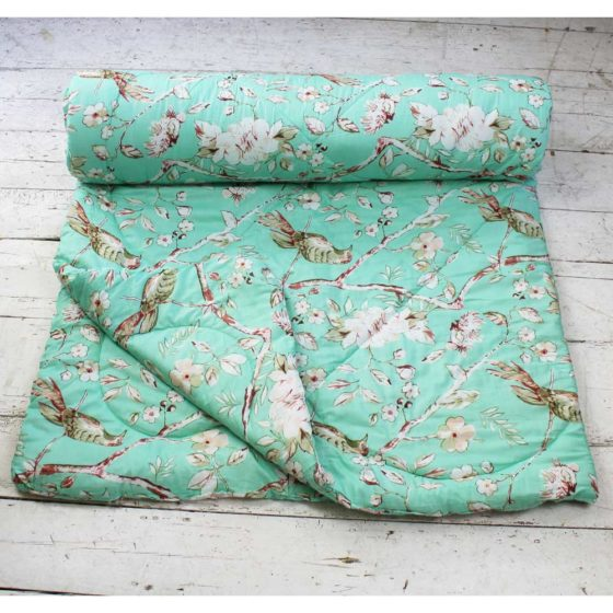 Mint Green Blossom and Birds Print Cotton Indian Bed Quilt
