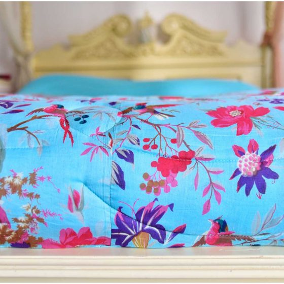 Turquoise Birds of Paradise Print Cotton Indian Bed Quilt
