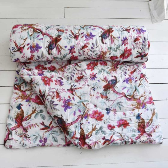Cream Birds of Paradise Print Cotton Indian Bed Quilt