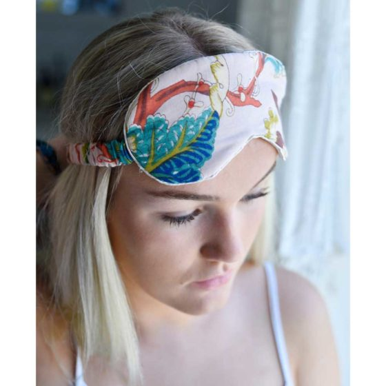 Pink Floral Cotton and Satin Eye Mask