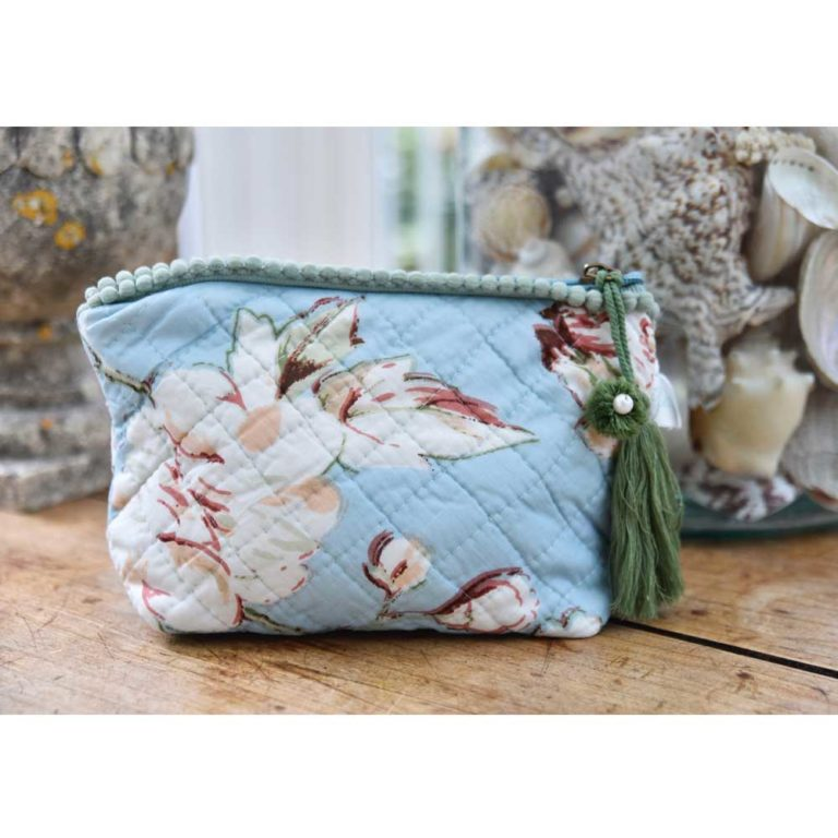 Blue Blossom and Bird Print Make Up Bag