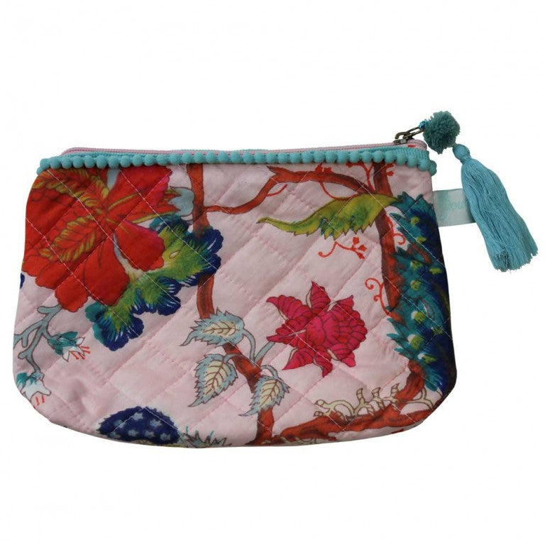 Pink Floral Print Make Up Bag