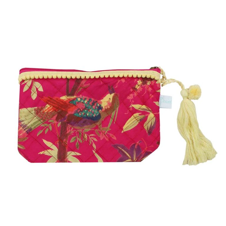 Hot Pink Birds of Paradise Print Make Up Bag