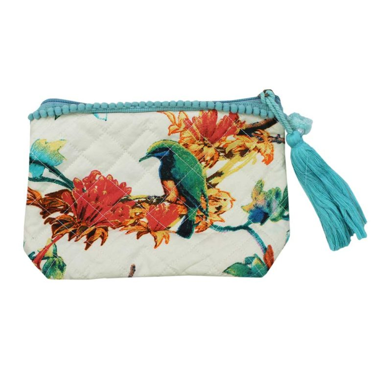 Turquoise Hummingbird Print Make Up Bag