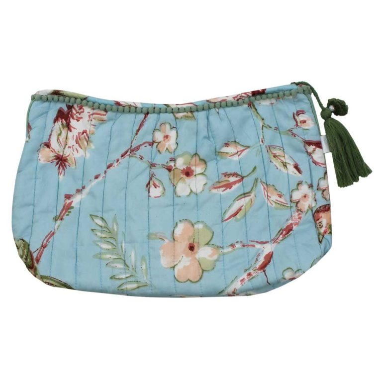 Blue Blossom and Birds Print Wash Bag