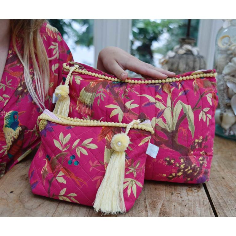 Hot Pink Birds of Paradise Print Wash Bag
