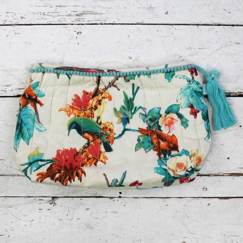 Peach Blossom and Birds Print Wash Bag