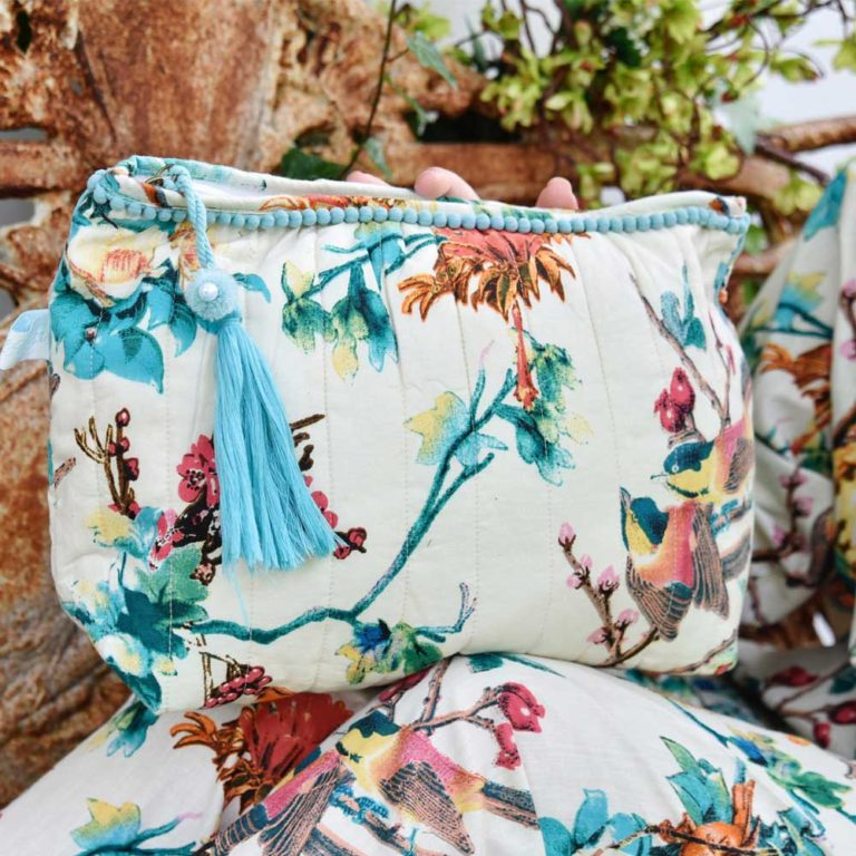 Cream Hummingbird Print Wash Bag