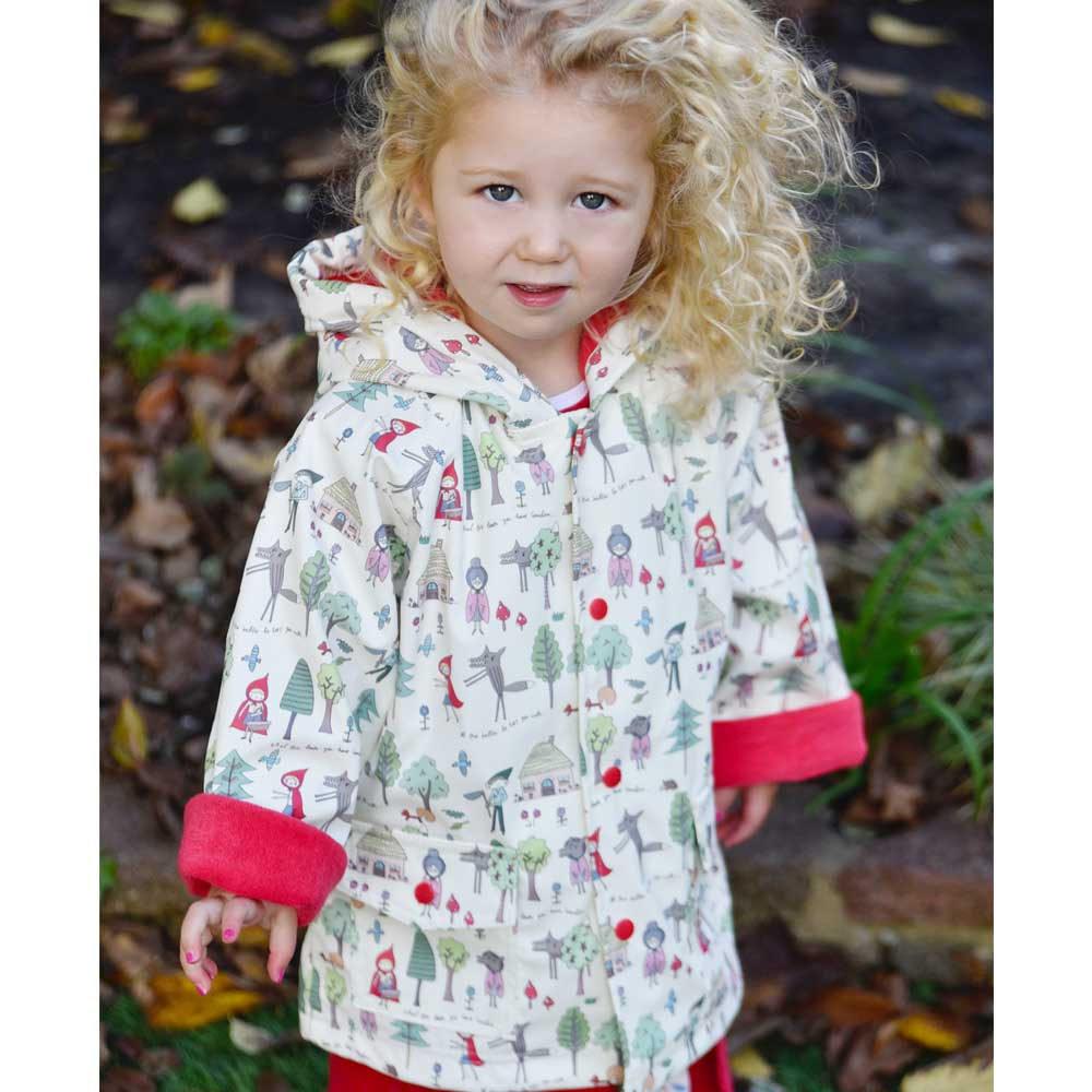 Girls Red Riding Hood Print Raincoat