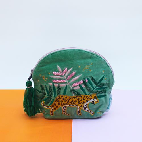 Savannah Green Velvet Make Up Bag