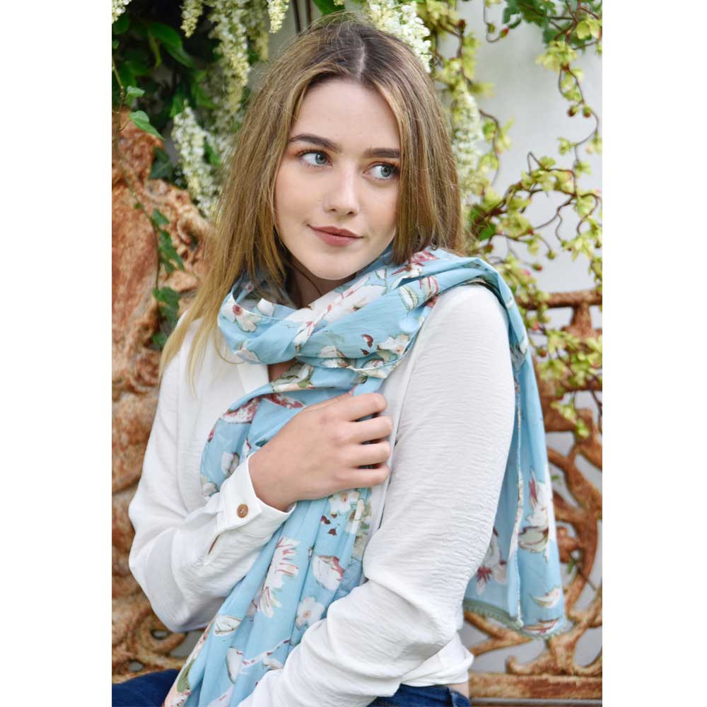 Blue Blossom and Bird Print Cotton Scarf