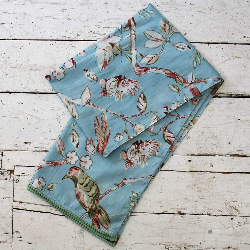 Blue Bird's and Blossom Cotton Scarf