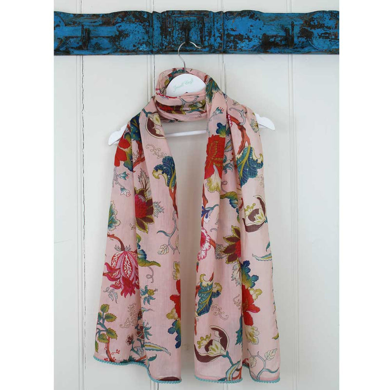 Pink Floral Cotton Scarf