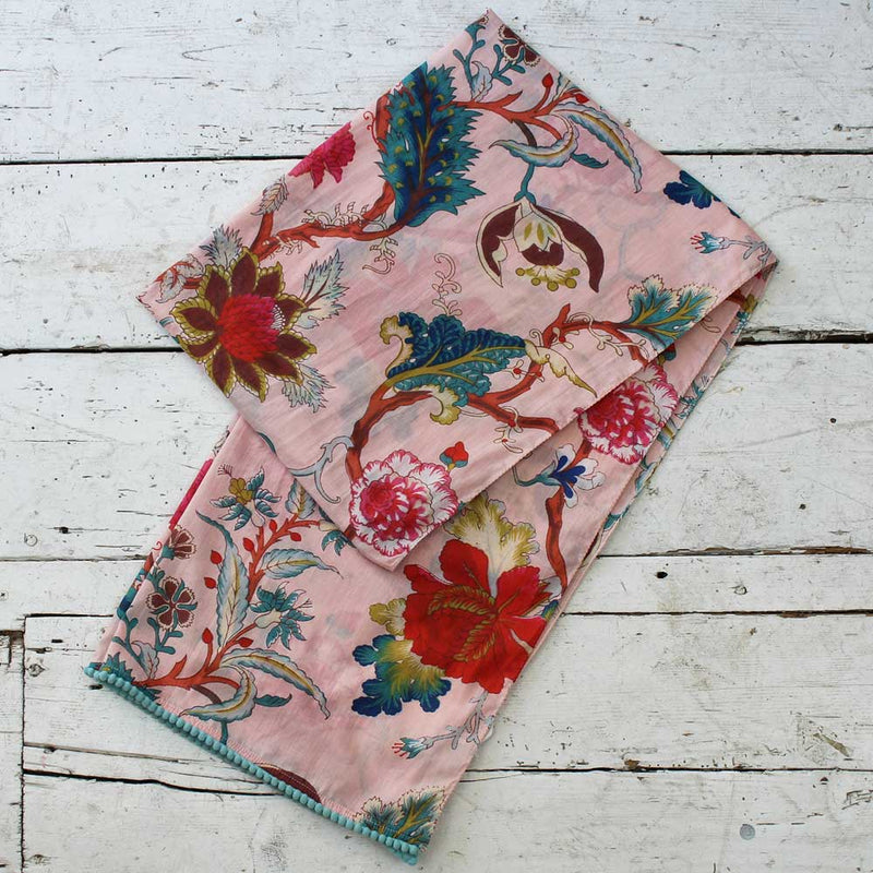 Pink Floral Print Cotton Scarf