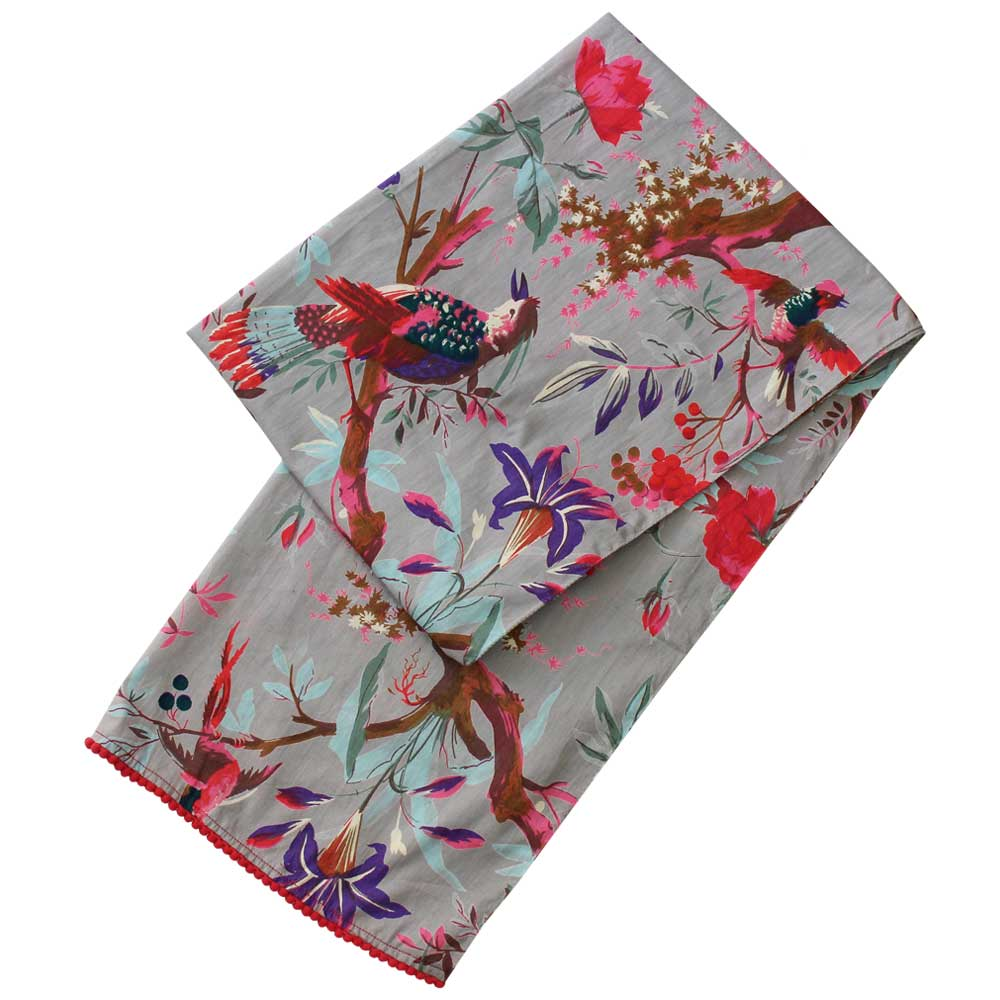 Grey Floral and Birds of Paradise Print Cotton Scarf