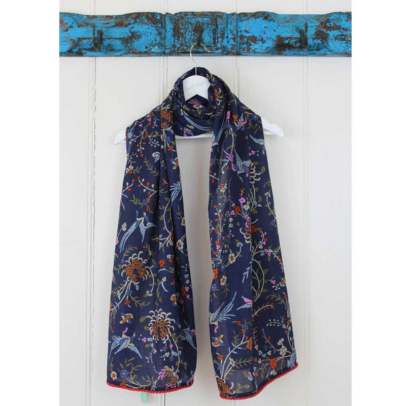 Navy Blue Floral Cotton Scarf