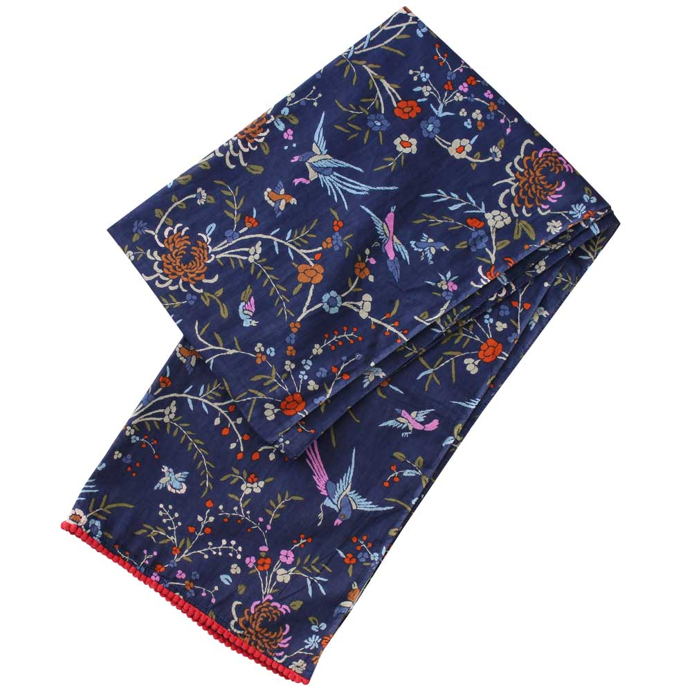 Navy Blue Floral Print Cotton Scarf