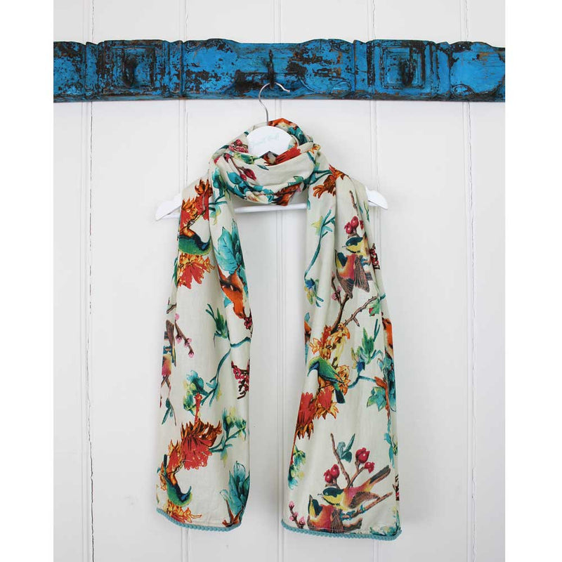Cream Hummingbird Print Cotton Scarf