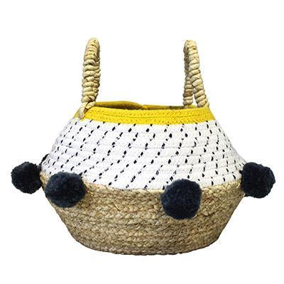 Yellow Pom Pom Rope Basket