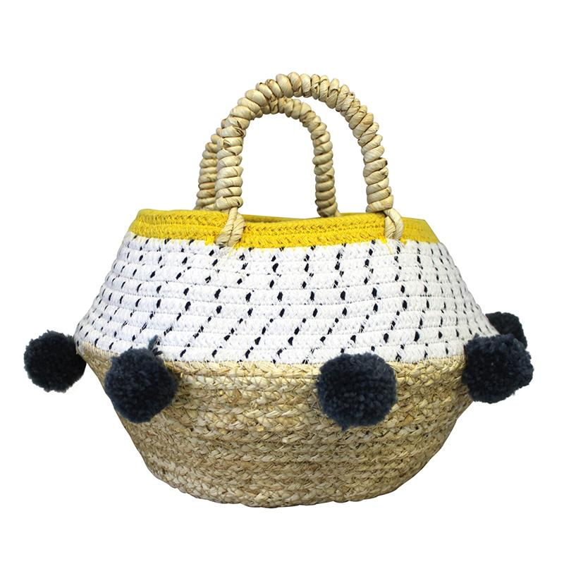 Small White and Yellow Pom Pom Rope Basket
